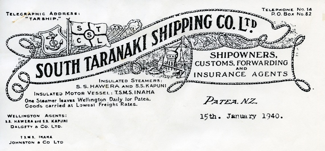 South Taranaki Shipping Company Letter, 15 January 1940, page 1 - Copy