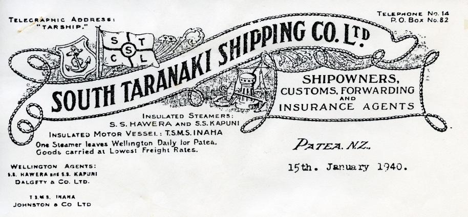 South Taranaki Shipping Company Letter, 15 January 1940, page 1 - Copy
