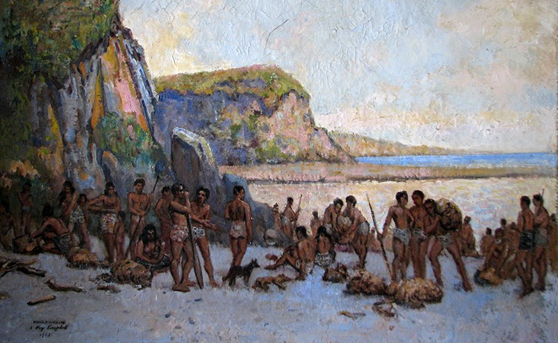 'The Arrival of Turi' by Oriwa Haddon and Charles Hay-Campbell, 1933, Aotea Utanganui Museum of South Taranaki Collection
